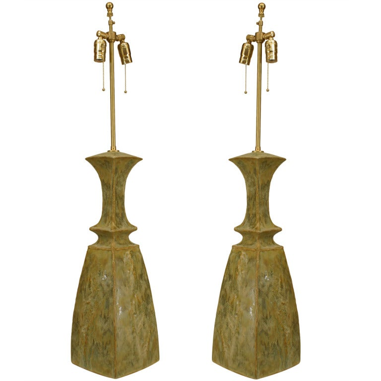 Mid century ginger jar lamp pair at 1stdibs - Pair Of Celedon Glazed Ceramic Table Lamps By Gary