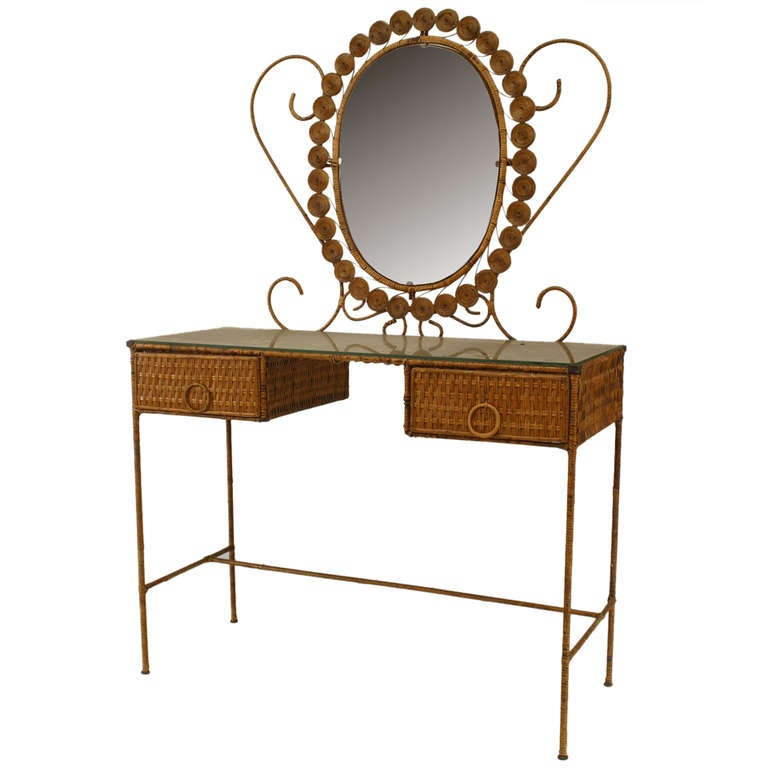 French Wicker Vanity With Dramatic Oval Mirror For Sale At