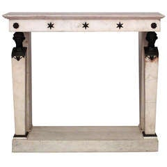 French Marble and Bronze Console With Napoleonic Detail