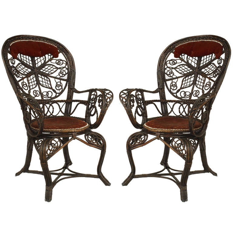 Pair of 19th c. Filigree Wicker And Velvet Fan Back Arm Chairs, By Colt For Sale