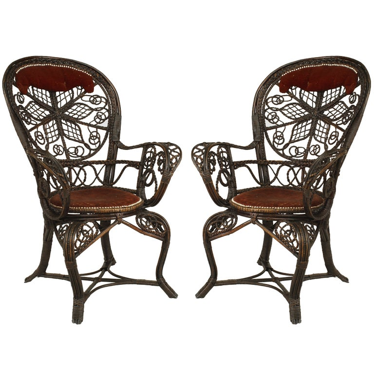Pair of 19th c. Filigree Wicker Fan Back Arm Chairs For Sale