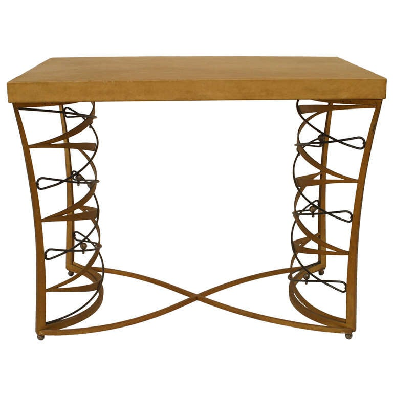 Important and Rare Iron and Parchment Table by Maurice Dufrène, 1935 1