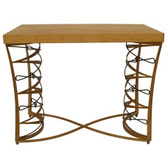 French Art Deco Iron and Parchment Table by Maurice Dufrène, 1935 Signed