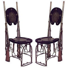 Pair of Unusual 19th c. English Rifle and Horseshoe Side Chairs