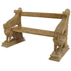 19th c. English Regency Sphinx Form Garden Bench