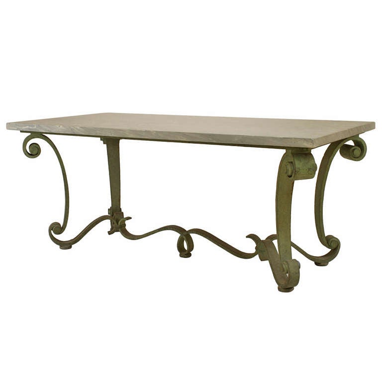1940's French Marble and Patinated Iron Center Table Attributed to Raymond Subes