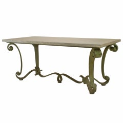 French Subes Iron and Marble Top Center Table