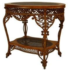 American Victorian Heywood-Wakefield Wicker Center Table