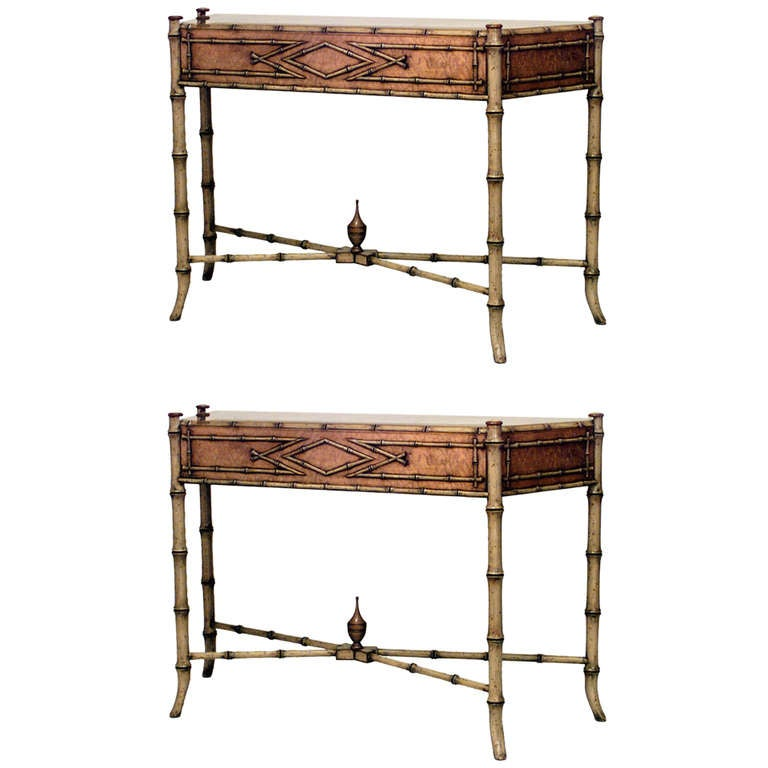 Pair of 20th c. English Regency Style Faux Bamboo Consoles