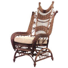 19th C Whitney Reed High Back Wicker Armchair At 1stdibs