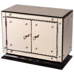 1940's French Pink Mirrored Miniature Cabinet