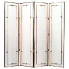 French 1940's Gilt Wood Screen Attributed To Lucien Rollin