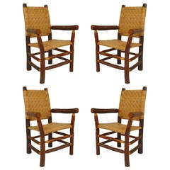 Set of Four 1940's Old Hickory Rustic Armchairs