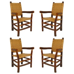 Set of 4 American Rustic Old Hickory Woven Arm Chairs