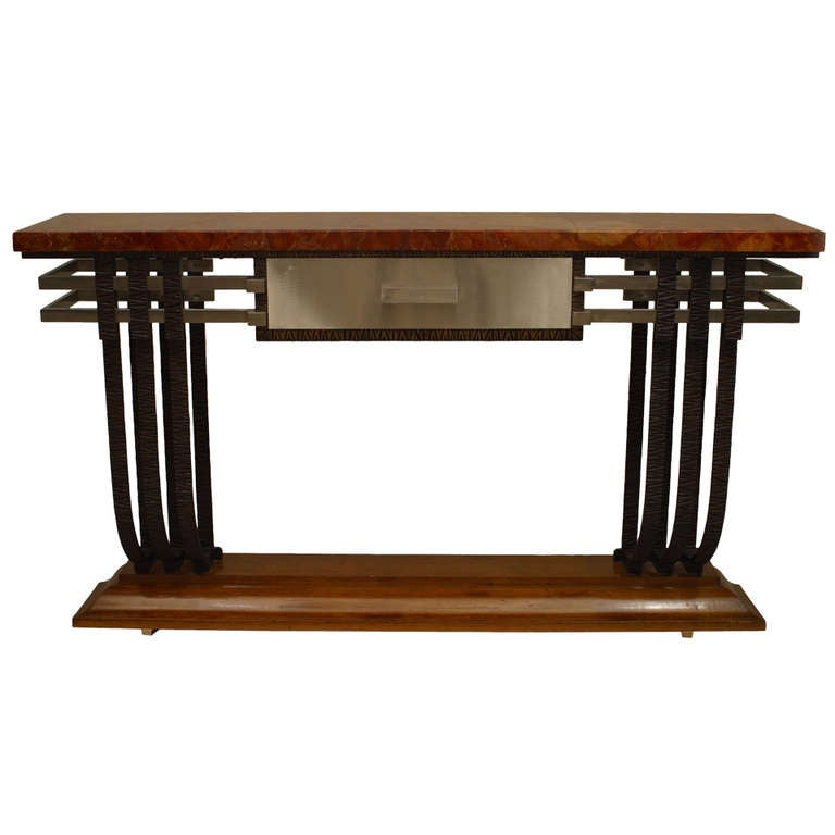 French art deco metal wood and stone console with drawer for 5 foot console table