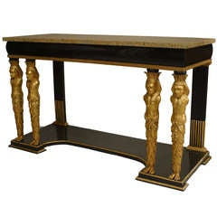 19th c. Austrian Neoclassic Gilt and Marble Console