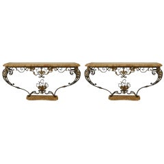 Pair of French Victorian Iron Floral Console Tables