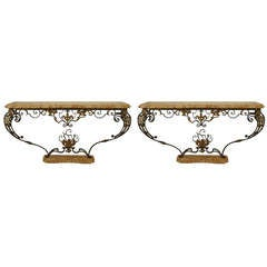 Pair of Napoleon III Marble and Iron Scroll Form Consoles