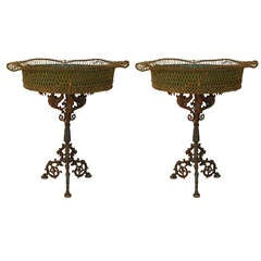 Pair of 19th C. French Wrought Iron Pedestal Base Planters