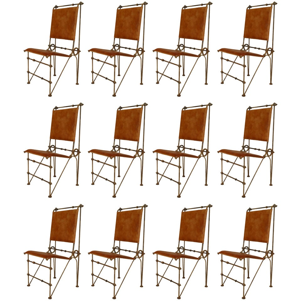 Set of 12 American Post-War Leather Chairs