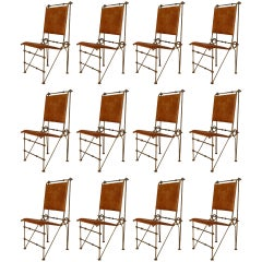 Set Of 12 Ilana Goor Saddle Leather and Wrought Iron Side Chairs