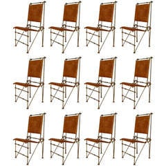 Set Of 12 American Saddle Leather and Wrought Iron Side Chairs