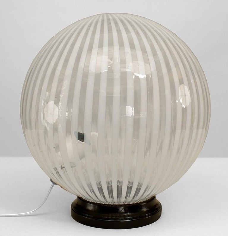 1970's Spherical Striped Murano Glass Table Lamp For Sale