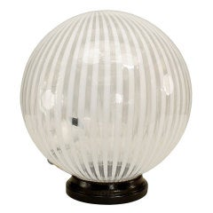 1970's Spherical Striped Murano Glass Table Lamp