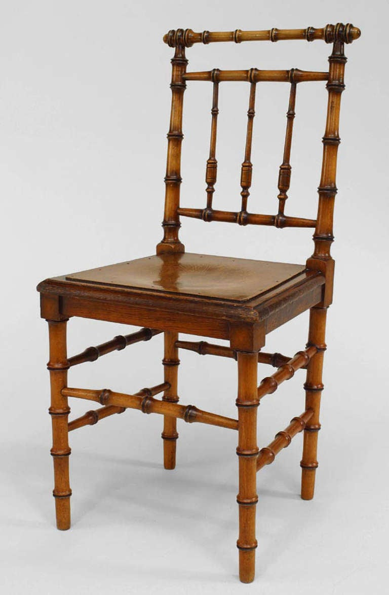 Six French Turn Of The Century Faux Bamboo Side Chairs For Sale At 1stdibs