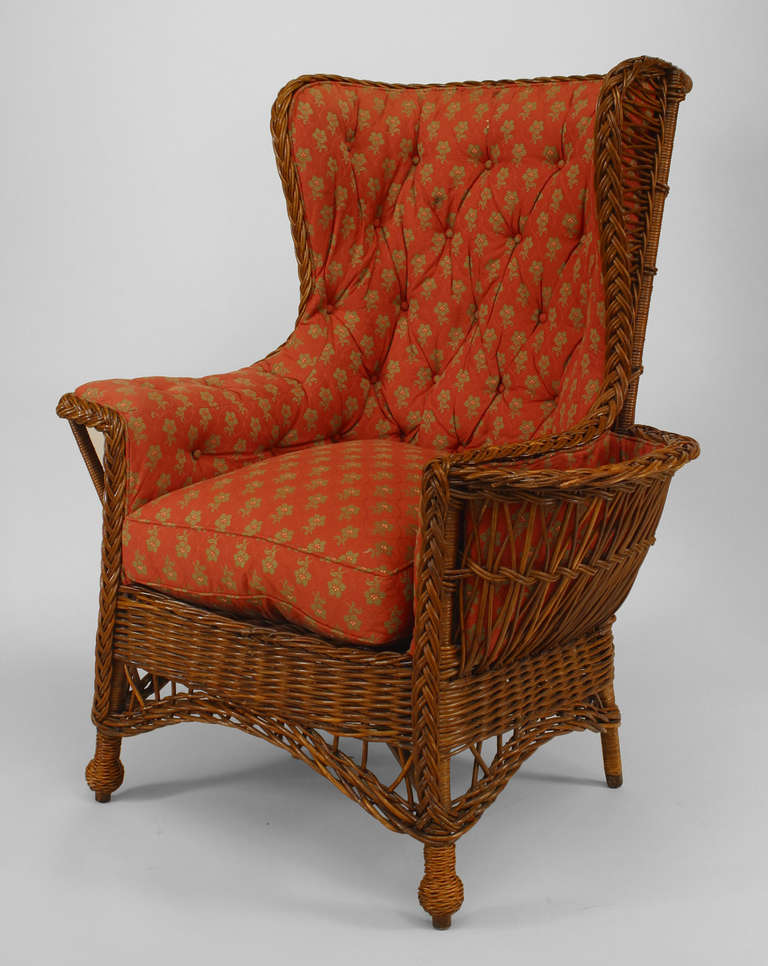 19th Century American Upholstered Wicker Armchair For Sale
