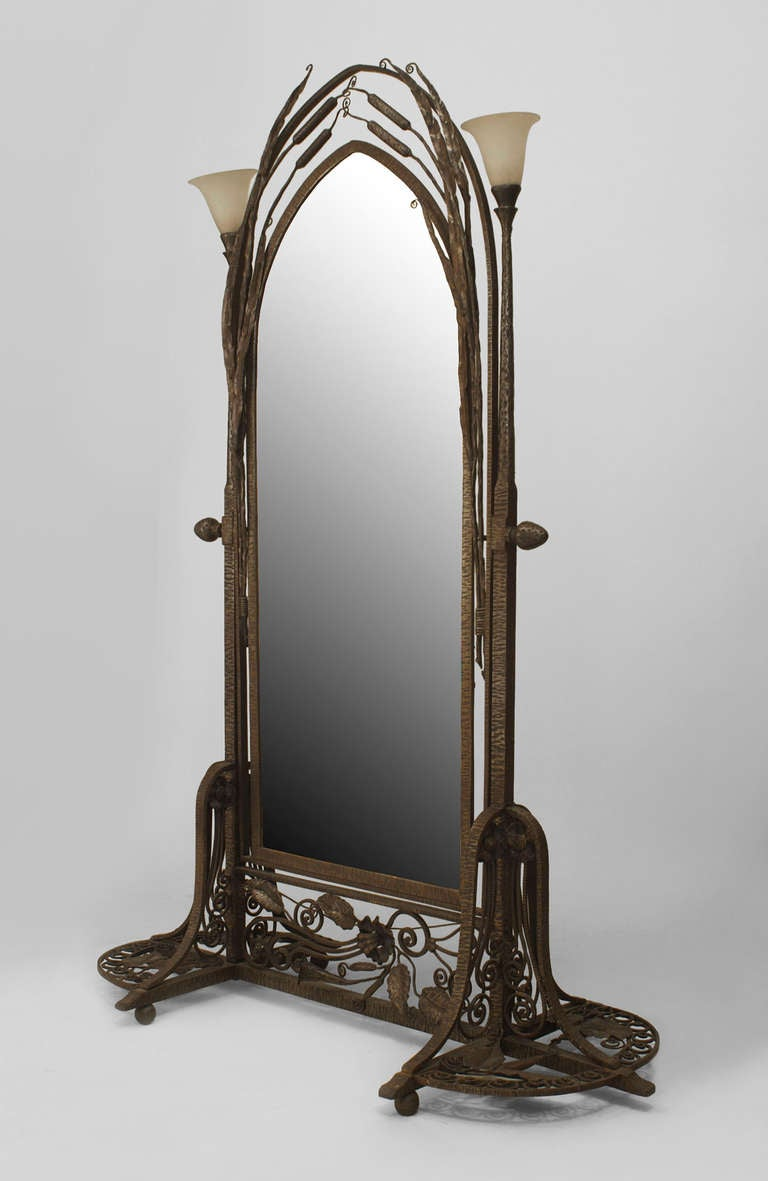 French Art Deco Wrought Iron Cheval Mirror Attributed To