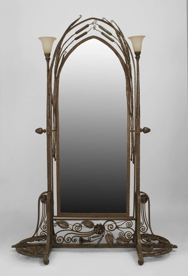 French art deco wrought iron cheval mirror attributed to for Cheval mirror