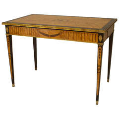 19th Century Continental Inlaid Maple End Table with Ormolu Trim