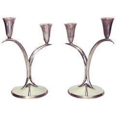 Pair of Italian Mid-Century Silver Plate Candelabras