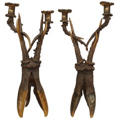 Pair of 19th c. Continental Horn and Antler Candelabra