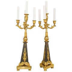 Pair of 19th c. French Empire Style Electrified Candelabra