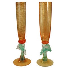 Pair of Swedish Sculptural Champagne Flutes by Kosta Boda