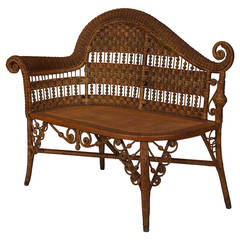 19th Century American Wicker Recamier