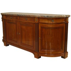 Fine 19th Century French Marble-Top Walnut Buffet Cabinet