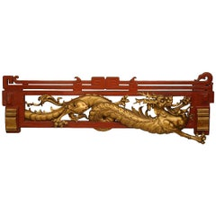 Late 19th Century Chinoiserie Red and Gold Lacquered Dragon Cornice