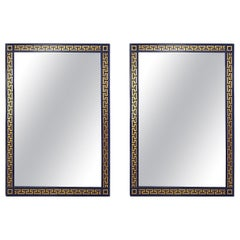 Custom Neoclassical Style Navy and Gold Lacquered Greek Key Wall Mirrors