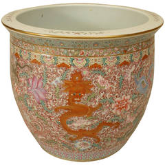 Asian Porcelain Jardiniere with Floral and Dragon Designs