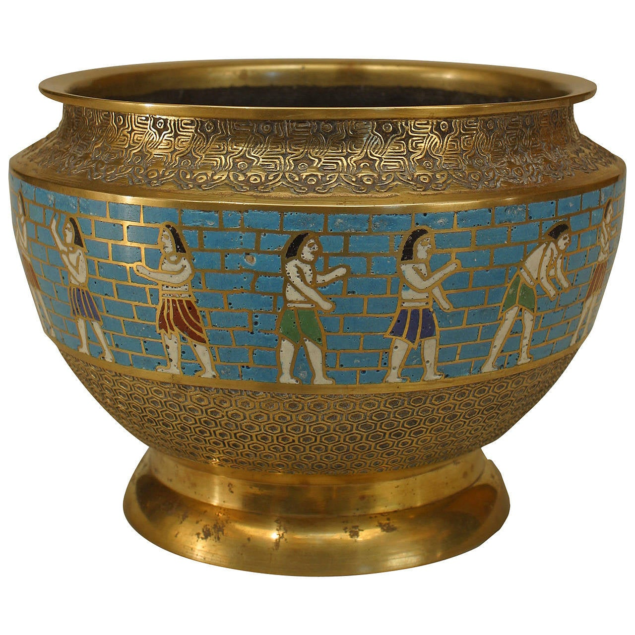 egyptian revival figural cloisonne bowl for sale at 1stdibs. Black Bedroom Furniture Sets. Home Design Ideas