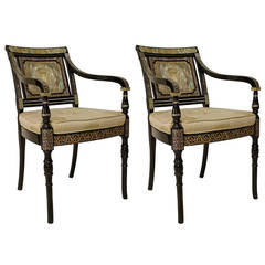 Regency Style Inlaid Pearl Armchairs with American Great Seal
