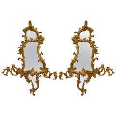 Important Pair of Mid-18th Century English George II Giltwood Girandoles
