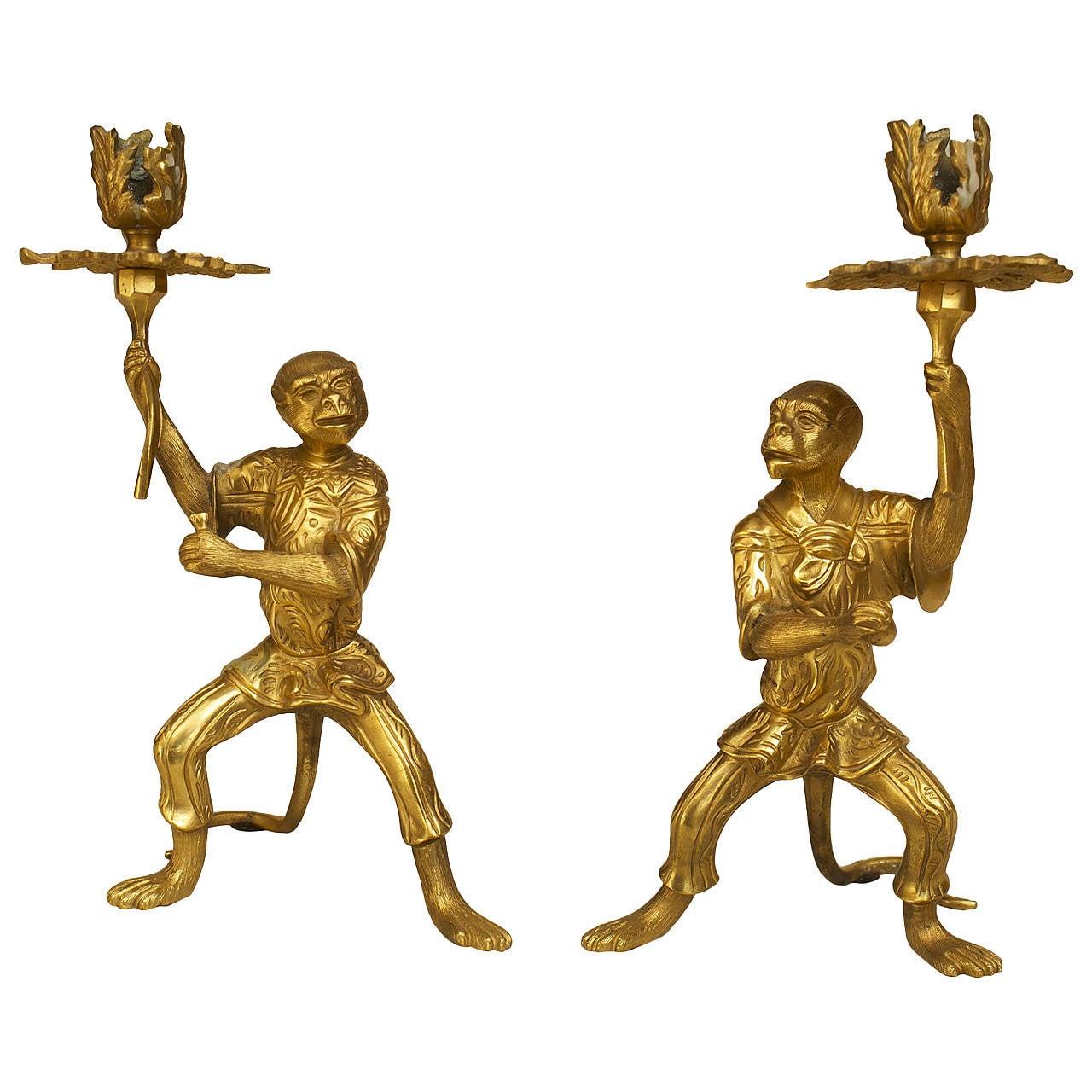 Pair of French Louis XVI Style Bronze Dore Monkey Candlesticks