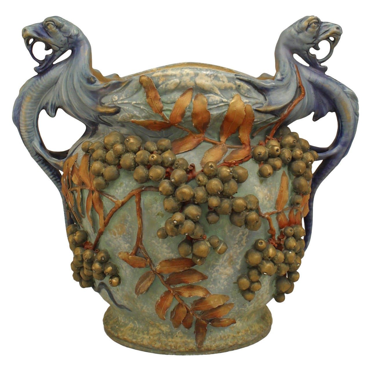 Monumental Austrian Flora and Fauna Jardiniere, Circa 1900 For Sale