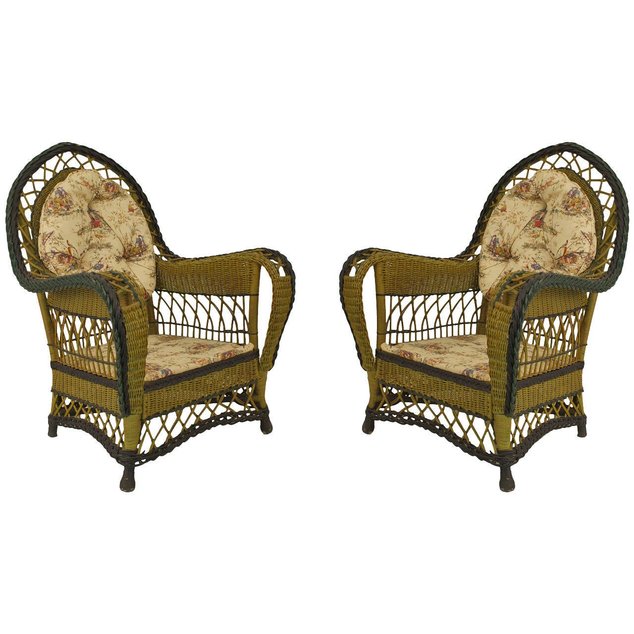 american art deco six piece painted wicker salon set for. Black Bedroom Furniture Sets. Home Design Ideas