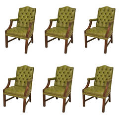 Set of Six English Georgian Green Tufted Leather Mahogany Armchairs