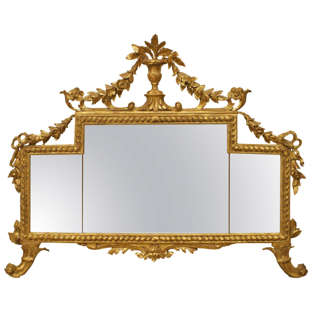 18th Century Italian Neoclassical Giltwood Mirror with Festoon Pediment
